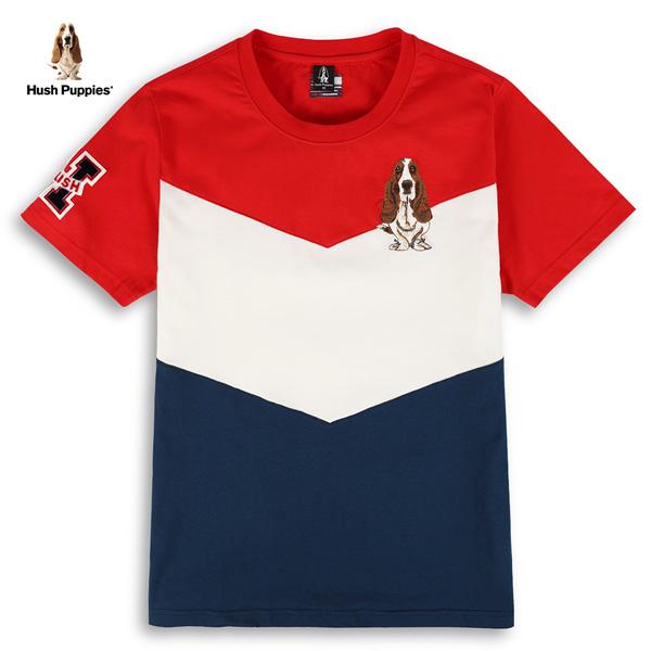 V剪接配色刺繡狗T恤
