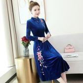 洋裝春秋新款中國風復古旗袍裙金絲絨大碼刺繡媽媽裝大擺連衣裙全館免運