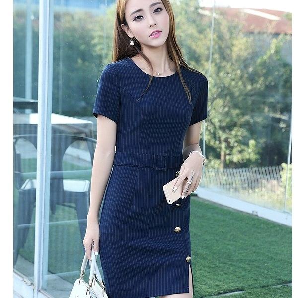 ZY-7163-PF時尚圓領直條紋修身顯瘦下擺釘釦連衣裙洋裝~美之札