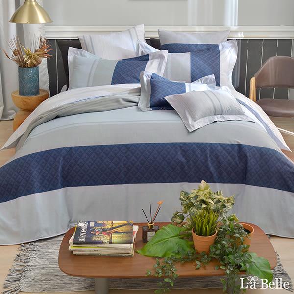 義大利La Belle《時尚空間》雙人純棉防蹣抗菌吸濕排汗兩用被床包組