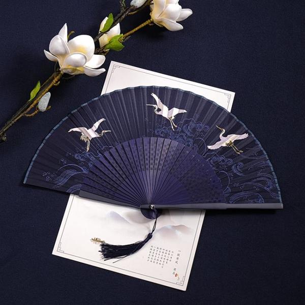 古風創意印花折扇中國風扇子女款手工絲綢扇復古漢服舞蹈扇女扇 怦然新品