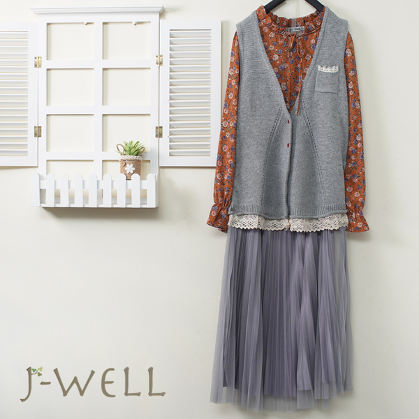 J-WELL 下擺蕾絲毛線背心綁結花襯衫壓摺網紗裙三件組(組合A660 9J1100灰+9J1097橘+8J1573灰)