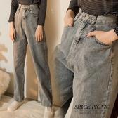 單寧 寬褲 Space Picnic 現+預.腰部造型設計單寧牛仔寬褲【C19121023】