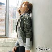 Victoria 骷髏貼鑽寬鬆長袖T-女-灰麻