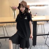 poplo洋裝  女裝韓版寬鬆顯瘦Polo領兔子刺繡中長款短袖洋裝荷葉邊長裙 『歐韓流行館』