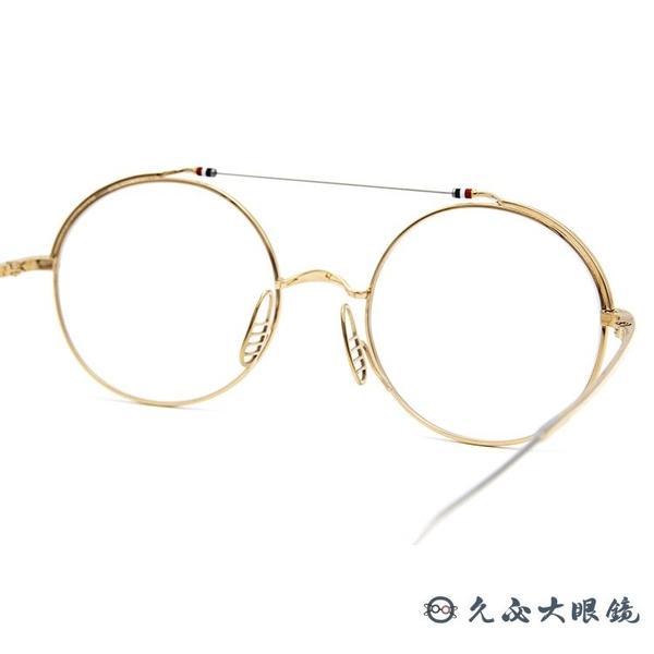 Thom Browne 眼鏡 雙槓 圓框 近視眼鏡 TBX910 金-銀 (49mm) 久必大眼鏡