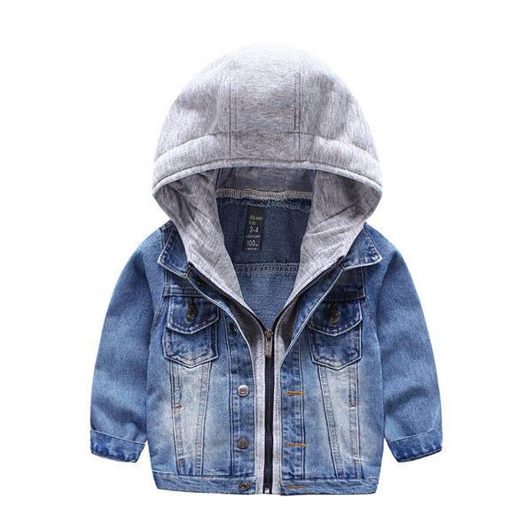 假兩件式 長袖拉鍊棉連帽牛仔 外套 橘魔法Baby magic 現貨 兒童 童裝