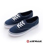 美國AIRWALK(女)  小藍標 紅邊經典基本綁帶帆布鞋 -超搭藍