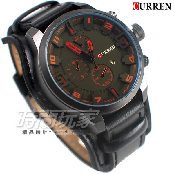 CURREN 卡瑞恩 美式風格 潮男 造型三眼 大錶徑 皮革錶帶 男錶 厚實 日期顯示窗 防水手錶 CU8225紅黑