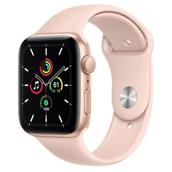 Apple Watch SE GPS 44mm 金色鋁金屬-粉沙色運動型錶帶【現貨 你的健康心生活】