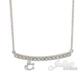 茱麗葉精品【全新現貨】COACH 91431 經典C LOGO垂墜方形鑲鑽造型項鍊.銀