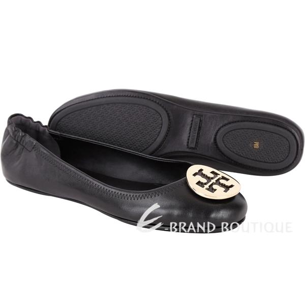 TORY BURCH Minnie Travel 圓弧金屬盾牌飾折疊平底鞋(黑色) 1730088-01