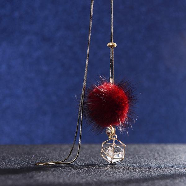 毛衣鍊長款簡約毛毛球吊墜項鍊時尚秋冬民族風流蘇配飾掛件女飾品