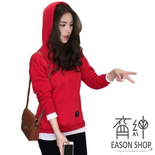 EASON SHOP(GW0486)實拍假兩件純色側開衩大口袋長版圓領長袖連帽T恤大口袋女上衣服落肩內搭衫棉T恤