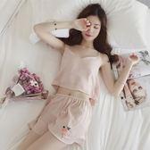 睡衣女夏季冰絲韓製韓製清新學生性感吊帶短袖絲綢兩件套裝家居服薄款