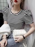 泡泡短袖 條紋短袖T恤女短款潮夏季2020新款韓版寬鬆百搭圓領泡泡袖上衣潮 曼慕