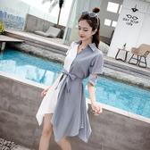 清倉$388 韓國風優雅拼接拼色顯瘦條紋長袖洋裝