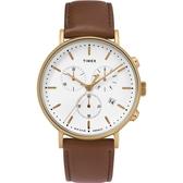 TIMEX 天美時 金框白面三眼三環咖啡皮帶錶 41mm 冷光夜光面板 TXTW2T32300 公司貨 | 名人鐘錶