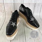 BRAND楓月 STELLA McCARTNEY 黑星星ELYSE厚底鞋 #38 鋸齒 木頭 皮鞋 編織 德比鞋 鞋子