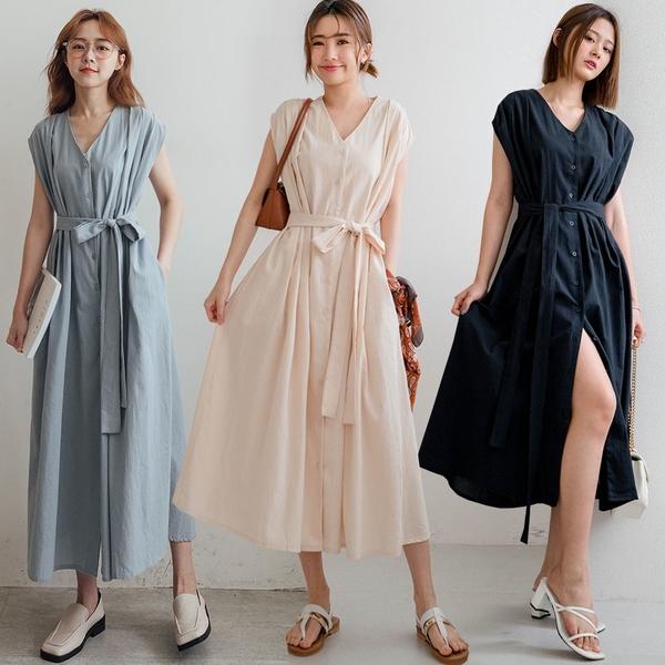 現貨-MIUSTAR 日系肩打摺包袖排釦棉麻洋裝(共3色)【NJ1653】