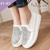 大尺碼女鞋-凱莉密碼-流行百搭款格麗特拼接厚底樂福鞋4cm(41-43)【JQ907-9】白色
