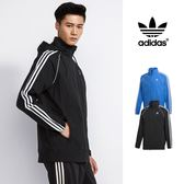 【GT】Adidas Originals 黑藍 連帽外套 運動 休閒 復古 素色 尼龍 風衣 愛迪達 三葉草 可收納連帽