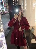 特賣閃閃連身裙新年年會亮絲閃閃拜年裙2020秋冬季法式高腰小香風氣質連身裙