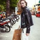 皮衣外套-時尚帥氣塗鴉印花女機車夾克73hu30【時尚巴黎】