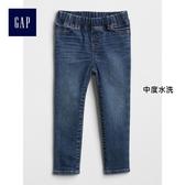 Gap女嬰幼童 鬆緊腰高彈力牛仔緊身褲 352910-中度水洗