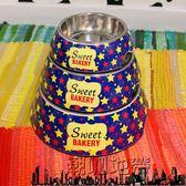 寵物狗飯碗 貓食盆狗食盆 貓碗狗碗單碗塑鋼彩色不銹鋼雙層食盆【潮咖地帶】