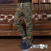 【2038】數位迷彩鬆緊抽繩束口休閒長褲(軍綠)● 樂活衣庫
