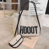 新款大包包大容量購物袋女包健身包字母休閒單肩包肩背包帆布包 萊爾富免運