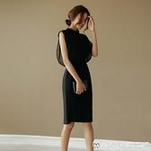 OL洋裝 黑色網紗正式場合裙子赫本連身裙女夏女人味衣服新款女裝職業洋裝 美物生活館