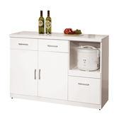 【森可家居】祖迪白色4尺碗碟櫃下座 8ZX935-5 餐櫃 收納廚房櫃 中島 北歐風