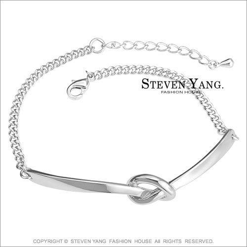 手鍊STEVEN YANG正白K飾「簡約繩結」時尚淑女款 銀色款