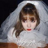 頭紗 韓式多層蓬蓬新娘頭紗蝴蝶結簡約復古婚紗頭紗短款旅拍造型頭紗 coco衣巷