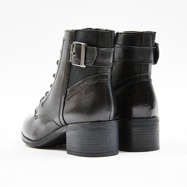 ★2017秋冬新品★kadia.真皮 時尚率性綁帶短靴(7702-90黑)