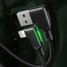 Mcdodo iPhone/Lightning充電線傳輸線 彎頭 LED 3A快充 黑膠系列 180cm 麥多多