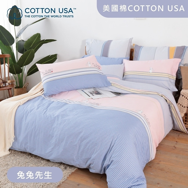 Beauty Style 美國棉四件式兩用被床包組 兔兔先生 (加大)