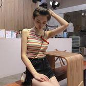 短款背心新款韓版chic修身顯瘦條紋荷葉斜露肩掛脖吊帶衫撞色針織小背心女Y2903