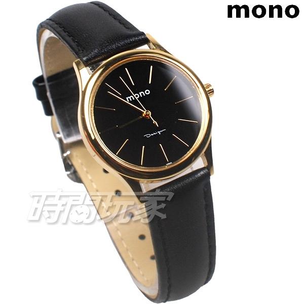 mono 簡約 高雅 設計美學 藍寶石水晶 真皮錶帶 小羊皮 女錶 金x黑 5003BG黑金小