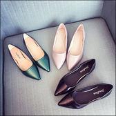 尖頭平底鞋歐美尖頭淺口平跟OL平底鞋工作鞋大碼女鞋單鞋包鞋【02S3515】