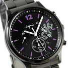 【萬年鐘錶】agnes b.  太陽能動力 蜥蜴圖騰法式時尚風腕錶 黑殼 黑面 40mm V175-0DP0SD(BU8013P1)