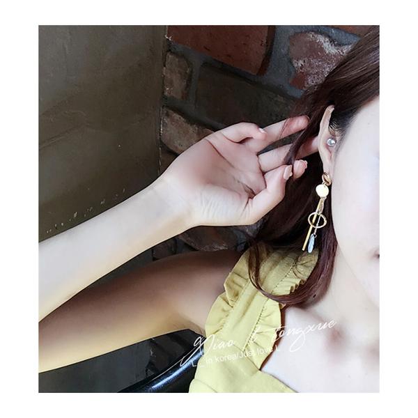 耳環 幾何 圓形 金屬 不對稱 垂墜 耳環【DD1612133】 icoca  04/20