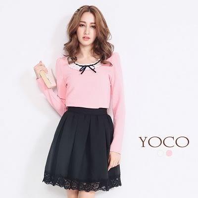 東京著衣【YOCO】緞帶蕾絲領壓紋上衣-S.M(5017782)