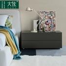 床頭櫃 「大佧設計」田園簡約床頭柜烤漆抽屜床邊柜儲物柜二斗柜臥室家具 【快速出貨】