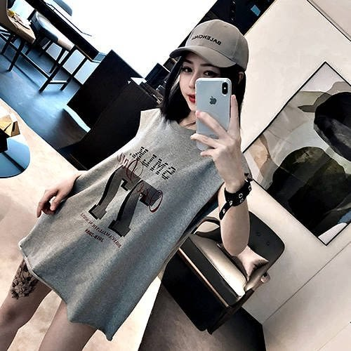 克妹Ke-Mei【AT50387】獨家,SMLK龐克背後釘釦綁帶字母圖印寬鬆T恤上衣