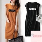無袖T恤連身裙中長款連身裙女夏季短袖流行款寬鬆顯瘦字母【櫻桃菜菜子】