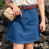 中大尺碼  顯瘦牛仔A字短裙 - 適XL~4L《 68061 》CC-GIRL