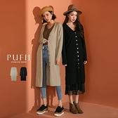 現貨◆PUFII-針織上衣 多穿法V領圓排釦長版針織上衣 -1103 冬【CP19361】